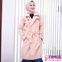 Mutushop. Jaket blazer wanita muslimah-Long cardi hijabers baby canvas