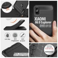Xiaomi Mi 8 Mi8 Explorer - PREMIUM Carbon Fiber Brushed Soft Case