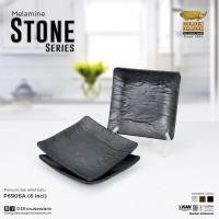 [HITAM] Piring Kotak Relief Batu 6 inch Melamine Golden Dragon P6906A