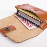 Dompet kartu simpel muat banyak kulit sapi asli