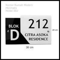 Nomor Rumah Acrylic Modern Minimalis Model 002