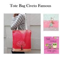 TC44 Civeto Famous Printed Canvas Tote Bag   Tas Bahu Pundak Shoulder 12befc3ba9e24