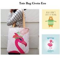 TC43 Civeto Eco Printed Canvas Tote Bag   Tas Bahu Pundak Shoulder dc6e1d9475fd1