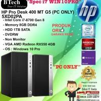 HP PRO DESK 400 MT G5 - 5XD02PA Core i7-8700/8GB/1TB/W10PRO PC ONLY