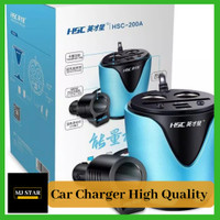 HSC Charger Mobil Multifungsi 2 Usb - 2 Socket Lighter High Quality