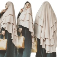 Promo Hijab Syari Kerudung Khimar Ceruti Kinari 3 Layer Grosir Jilbab