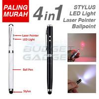 Stylus 4 in 1 Ballpoint + Laser Pointer + Senter -silver