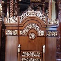 Mimbar Masjid Kubah Jati Ukiran Kaligrafi - Mimbar Masjid Kubah Mebel