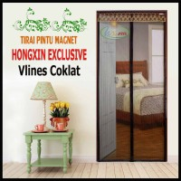 Tirai Magnet Hongxin Vlines Coklat Ukuran 180x240 Cm