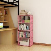 Rak Buku Portable Serbaguna 5 Susun 4 Ruang - Pink Polkadot