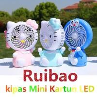 Kipas Angin Karakter Lampu LED Mini Fan Portable A9 - Biru Muda