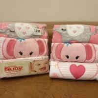 Nuby Long Pant 3in1 - Pink Elephant / Set Celana Panjang Bayi Cewek