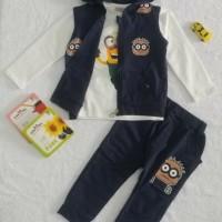 Baju Setelan 3 in 1 Kartun Minion Blue  Baju Setelan Anak Import
