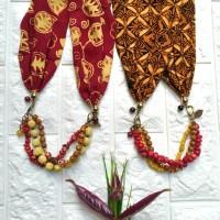 Harga kalung etnik 2in1 gelang batik cap paris manik kaca batu handmade | Pembandingharga.com