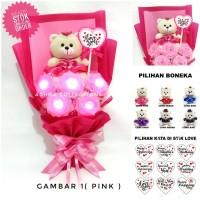 buket bunga mawar led boneka teddy bear kado ulangtahun anniversary