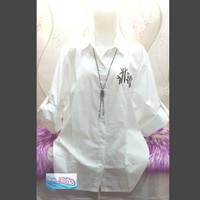 Kemeja / Shirt / Wanita / Bordir Panda / Putih XXXL