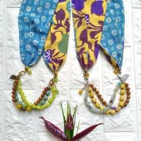 Harga kalung etnik 2in1 gelang batik cap paris manik kaca batu | Pembandingharga.com