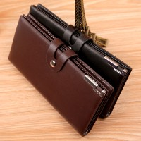 Top Quality PU Simple Men Long Section Button Bifold Business