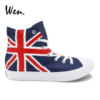 Wen Custom Canvas Sneakers UK Flag Hand Painted Shoes High Top Laced