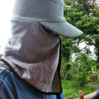( topi pancing model jepang masker anti panas dan aman dari mata kail