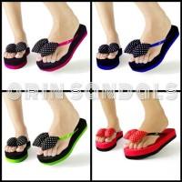 Sandal Wedges Oshin PomPom ORIN Pink Fanta Sandal Jepit Flat Tinggi