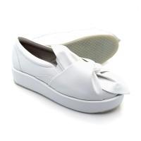 Sepatu Casual Wanita Putih Santai Slipon Wedges Slop Pita Cewek Kerja