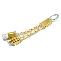 Kabel Cas Fiber Key Ring 2 in 1 Micro USB & Lightning Gold