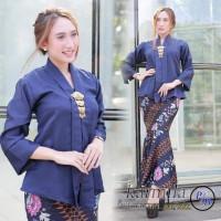 Stelan Atasan Kebaya Seni Dan Rok Duyung Maxi Jumbo Batik Wani - Navy, M