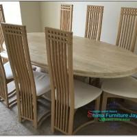 set meja makan set kursi makan minimalis salur meja oval kayi jati