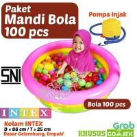 GOSEND/GRAB Paket Mandi Bola 100 Pcs -Kolam Renang Anak + Bola + Pompa