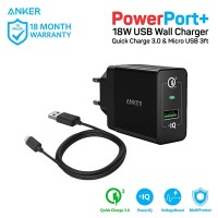 Anker PowerPort+ 1 Quick Charge 3.0 + Micro USB 3ft - Black [B2013L11]