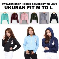 MichelleStore Sweater Wanita Crop Hoodie Somebody To Love