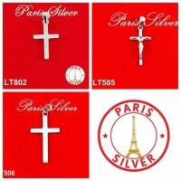 Liontin buah kalung bandul salib full ad Silver / Perak 925 lapis emas
