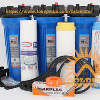 "Paket SAFE Filter Air Zat Besi Siap Pakai (Blue 10"" drat 1/2"" SPG)"