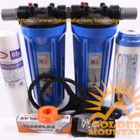 "Paket SAFE 2 Filter / Saringan Air Siap Pakai (Blue 10"" drat 1/2"" SG)"