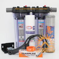"""Paket SAFE 2 Filter / Saringan Air Siap Pakai (Clear 10"""" drat 3/4"""" SC)"""