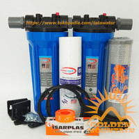 "Paket SAFE 2 Saringan / Filter Air Siap Pakai (Blue 10"" drat 1/2"" SC)"
