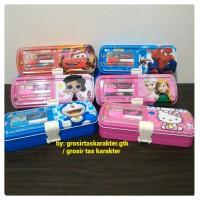 Tempat Pensil Anak LOL Hello Kitty Spiderman Dora Cars Kaleng 2 Susun
