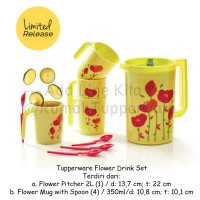 Tupperware Flower Drink Set November Teko dan Gelas motif Bunga