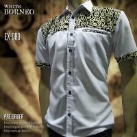 BATIK PRIA KOMBINASI Putih WHITE BORNEO EX-083 | Seragam Batik Keren