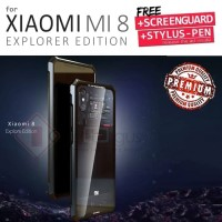 Xiaomi Mi 8 Explorer Mi8 Pro Metal Bumper Tempered Glass Cover Case