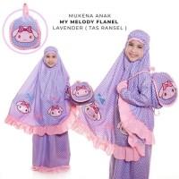 mukena anak my melody flanel lavender tas ransel XS