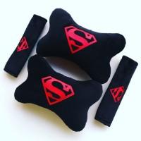 Bantal Mobil SUPERMAN Hitam Bordir Merah - Exclusive