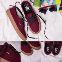 AJ01 Sepatu Vans Authentic Port Royale Maroon Merah Marun Sole Gum