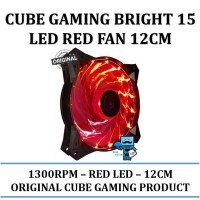 CUBE GAMING BRIGHT 15 LED RED FAN 12CM 1300RPM