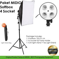 Paket Studio Light Stand 2M+ 4 Socket E27 + Softbox Midio