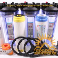 "Paket SAFE Filter Air Zat Besi Siap Pakai (Clear 10"" - 1/2"" SPG)"