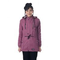 jaket wanita parka ungu canvas hoodie casual gunung murah cewe IL