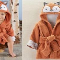Kimono Handuk Anak Karakter Burung Hantu Orange-Cokelat CLS26SOZ