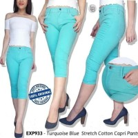 Celana Branded Murah Express Turqouis Blue Stretch Cotton Caop Pants
